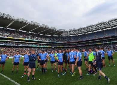 Dejected Dublin players at the final whistle.