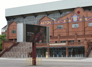 A tribute to former Aston Villa player Ugo Ehiogu who has died aged 44, outside Villa Park.