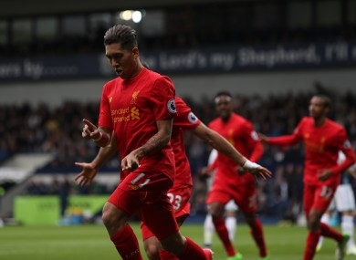 Firmino celebrates the only goal of the game.