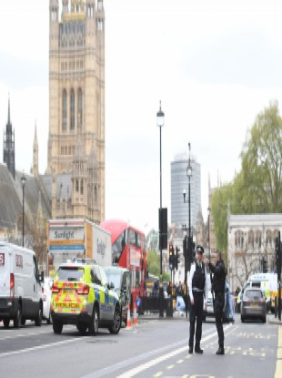 Police at the scene after a person was arrested following an incident in Whitehall in London.