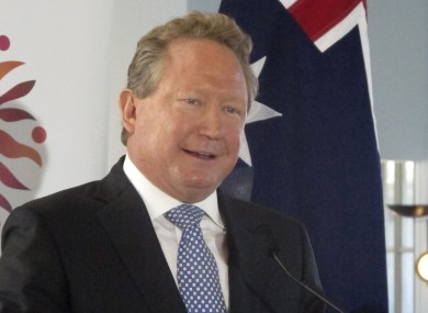 Iron ore mining magnate Andrew Forrest gives a speech at Australia's Parliament House in Canberra, Australia, earlier today.