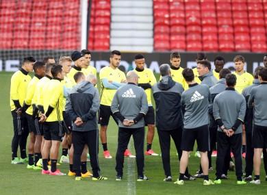Celta Vigo team huddle during the training session at Old Trafford, Manchester.