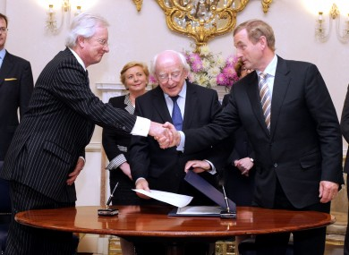 President Higgins and Taoiseach Enda Kenny with His Hon. Judge Alan Mahon a he is appointed to the Court of Appeal in 2014.