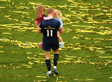 Keith Earls and his daughters Ella May and Laurie after the game.