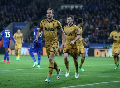 Harry Kane celebrates a goal.