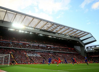 The recently developed Centenary Stand at Anfield.