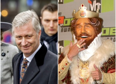 The online advert asks you to choose between King Philippe and Burger King