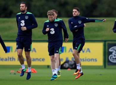 Shane Duffy (left) and Eunan O'Kane (centre) training with Robbie Brady (right).