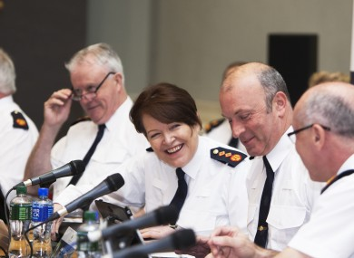 The Garda Commissioner and other senior officers at a Policing Authority meeting in April.