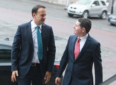 Leo Varadkar and Paschal Donohoe arriving at the Government's National Economic Dialogue in Dublin Castle.
