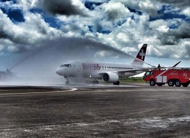 Cork Airport Fire & Rescue service welcome Swiss Air to Cork.