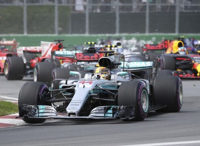 Lewis Hamilton leading the pack in the Canadian Grand Prix.