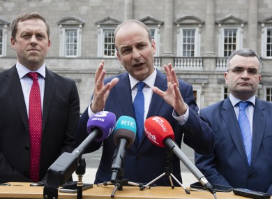 Fianna Fáil leader Micheál Martin speaking to the media following his meeting with Leo Varadkar today.