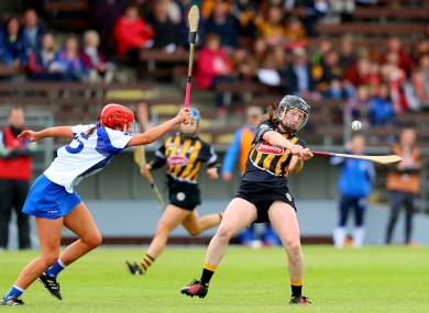 Kilkenny's Julianne Malone and Waterford's Claire Phelan in action.