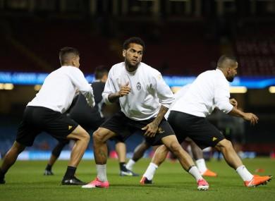 Dani Alves in training in Cardiff yesterday.