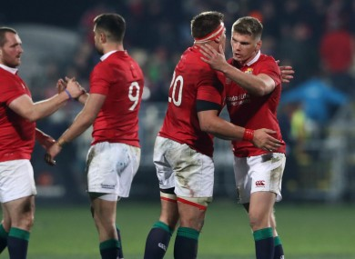 The British and Irish Lions celebrate their win over the Crusaders.