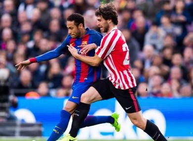 Yeray in action against Neymar last season.