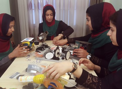 Teenagers from the Afghanistan Robotic House practice at the Better Idea Organization centre in Herat, Afghanistan.