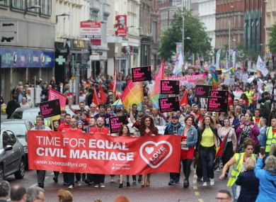 Campaigners calling for the introduction of same sex marriage in Northern Ireland during a parade and rally in Belfast City centre.