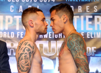Carl Frampton and Andres Gutierrez at today's weigh-in.