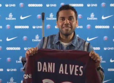 Alves with his new shirt.