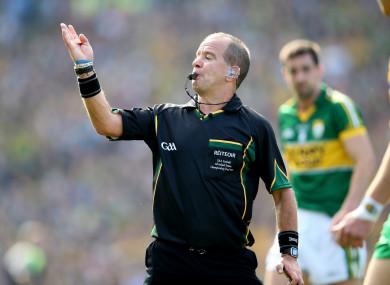 Eddie Kinsella refereeing the 2014 All-Ireland senior football final.