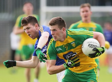 Donegal's Eoghan Ban Gallagher and Larry Moran of Longford.