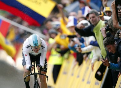 Britain's Chris Froome crosses the finish line during the first stage of the Tour de France.