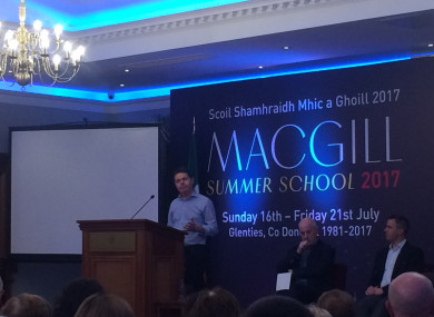 Minister Paschal Donohoe speaking at the MacGill Summer School in Glenties.