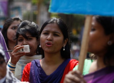 Survivors of acid attacks at a protest against this form of violence in 2014