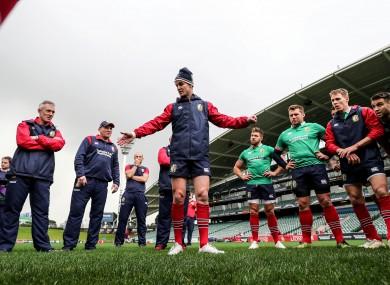Jonathan Sexton talks to the squad at the QBE Stadium, Auckland.