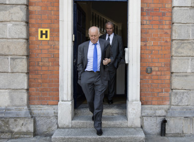 Retired Garda Chief Superintendent James Sheridan, leaves having finished his evidence at the Disclosures Tribunal in Dublin Castle.