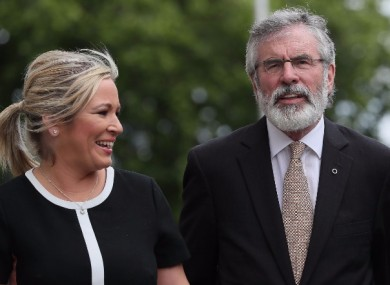 Arlene Foster of the DUP (above); Michelle O'Neill, Gerry Adams and Mary Lou McDonald of Sinn Féin (below)