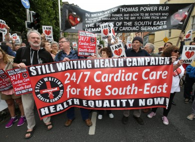 Protesters outside Leinster House in support and in protest for a 24/7 Cardiac facility for the South East late last month.