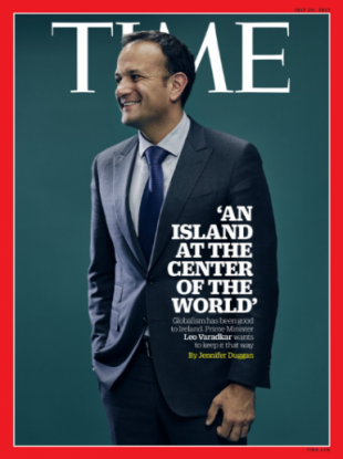 Leo Varadkar on the front of Time Magazine