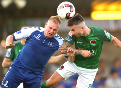 Robbie Williams challenges for a header with Sean Maguire during Limerick's 4-1 defeat to Cork City last month.