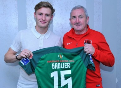 Cork City's new signing Kieran Sadlier pictured with manager John Caulfield this afternoon.