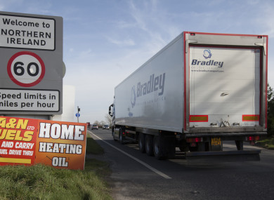 A truck leaving the small village of Bridgend in the Republic and travelling into Northern ireland.