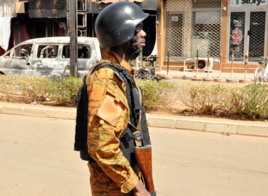 A police officer in Burkina Faso following an attack in Ouagadougou in January 2016