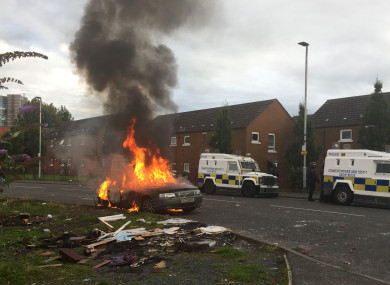 The disorder broke out after wood was removed by the council from a bonfire site.
