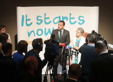 Taoiseach Leo Varadkar speaking to the media this week with Children's Minister Katherine Zappone.