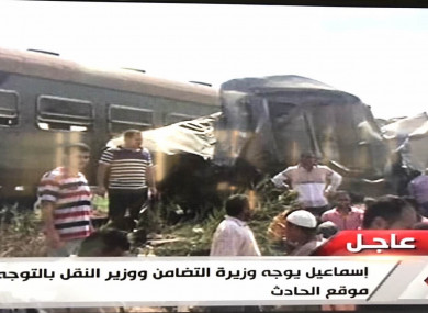 An Egyptian local TV chanell reporting the train crash in Alexandria province.