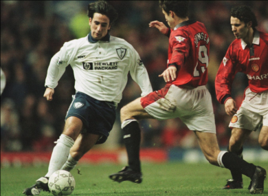 Neale Fenn pictured on his debut against Manchester United.