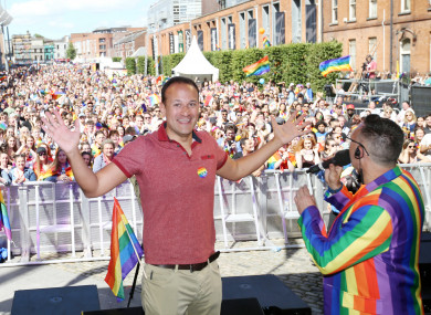 Taoiseach Leo Varadkar at the Pride Parade 2017 in Dublin.