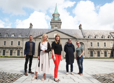 Artist Ciaran Murphy, Christina Kennedy, IMMA Head of Collections, Elaine Cullen, Market Development Manager for Moet Hennessy, and artists Mark Garry and Mairead McClean at the launch of the Hennessy Art Fund for IMMA Collection 2017.