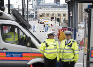 Forensics at London Bridge the day after the attack.