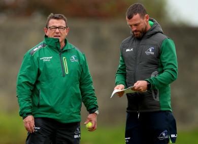 Keane with backs coach Nigel Carolan.