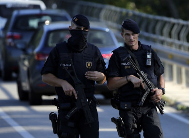 Armed police in the suburbs of Barcelona.