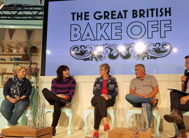 Richard Bacon (right) with (left to right) Sandi Toksvig, Noel Fielding, Prue Leith and Paul Hollywood