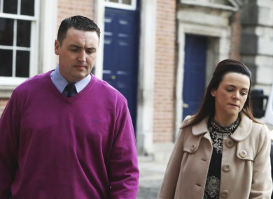 Garda whistleblower Keith Harrison with his partner Marisa Simms arriving at the Disclosures Tribunal in Dublin Castle today